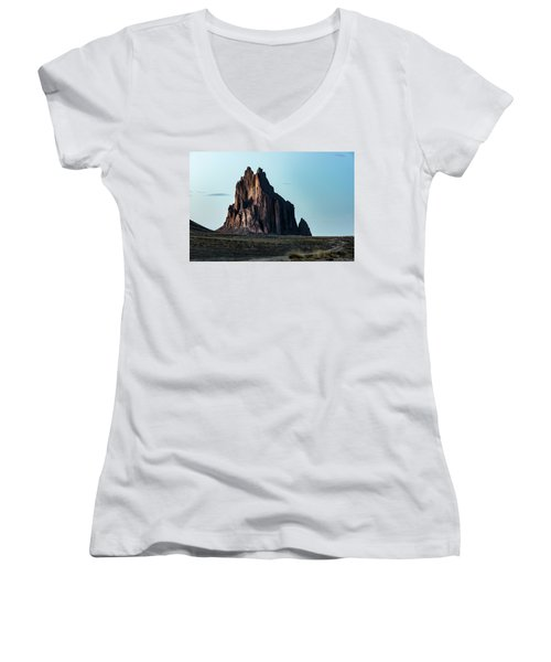 Remote Yet Imposing Women's V-Neck T-Shirt (Junior Cut) by Jon Glaser