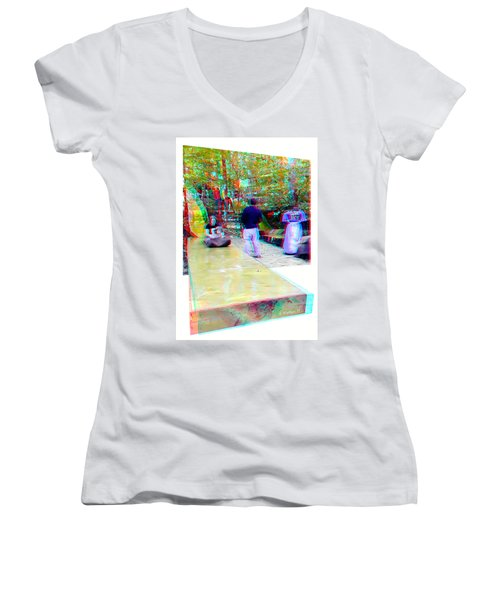 Women's V-Neck T-Shirt (Junior Cut) featuring the photograph Renaissance Slide - Red-cyan 3d Glasses Required by Brian Wallace