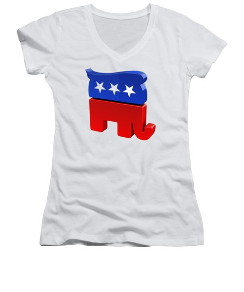 Republican Elephant With Trump Hair Women's V-Neck (Athletic Fit)