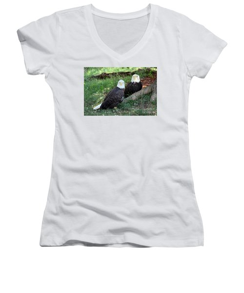 Resting Bald Eagles Women's V-Neck