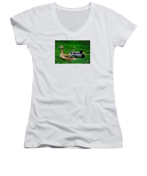 Women's V-Neck T-Shirt (Junior Cut) featuring the photograph Resting Ducks by Mariola Bitner