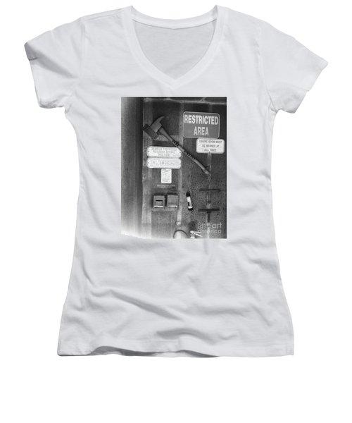 Restricted Area Women's V-Neck T-Shirt (Junior Cut) by WaLdEmAr BoRrErO