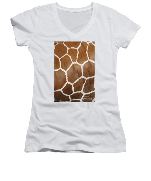 Reticulated Giraffe #2 Women's V-Neck (Athletic Fit)