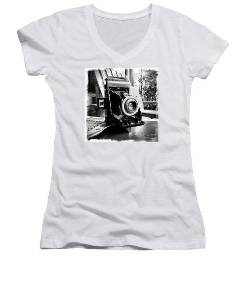 Women's V-Neck T-Shirt (Junior Cut) featuring the photograph Retro Camera by Daniel Dempster