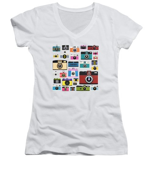 Women's V-Neck T-Shirt (Junior Cut) featuring the painting Retro Camera by Setsiri Silapasuwanchai