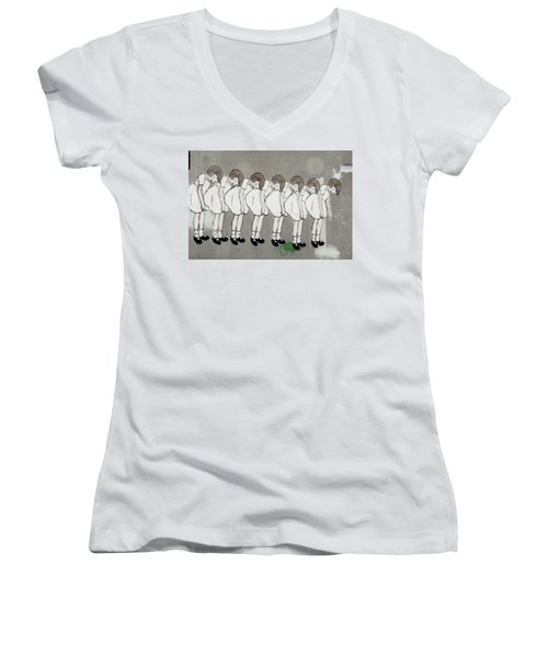 Women's V-Neck T-Shirt (Junior Cut) featuring the photograph Retro Girl by Art Block Collections