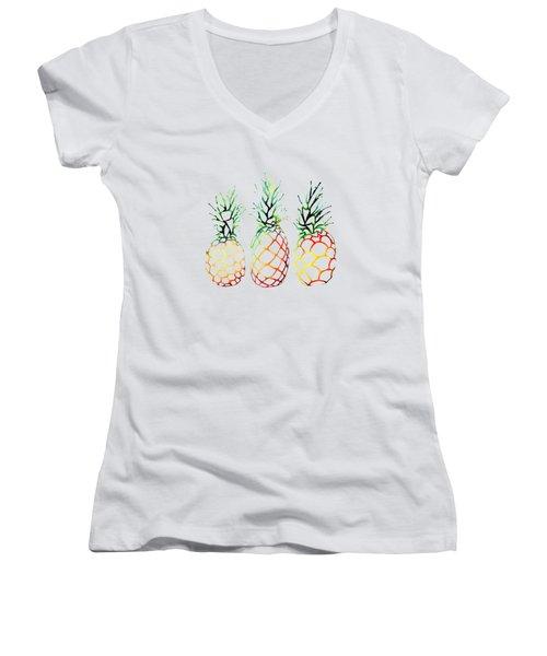 Retro Pineapples Women's V-Neck T-Shirt