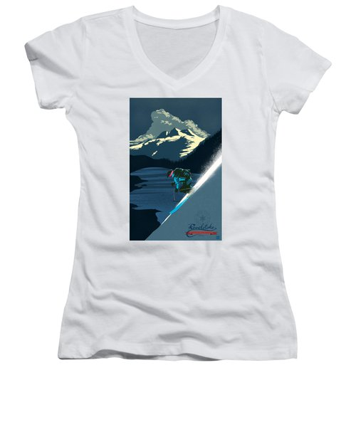 Retro Revelstoke Ski Poster Women's V-Neck (Athletic Fit)