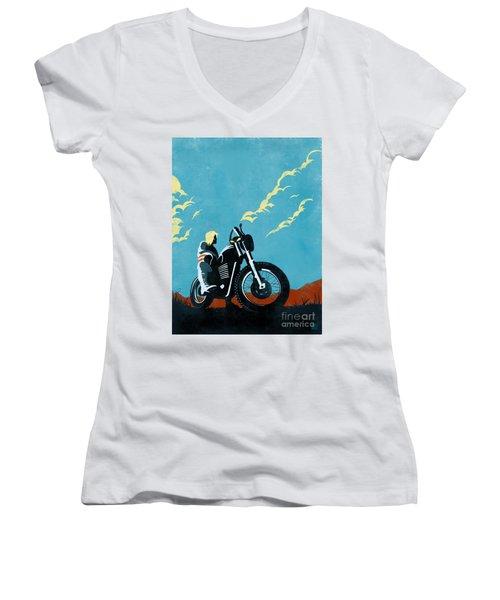 Retro Scrambler Motorbike Women's V-Neck