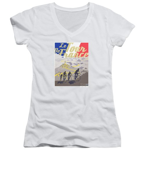 Retro Tour De France Women's V-Neck T-Shirt (Junior Cut) by Sassan Filsoof