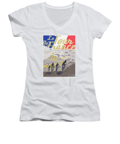 Retro Tour De France Women's V-Neck