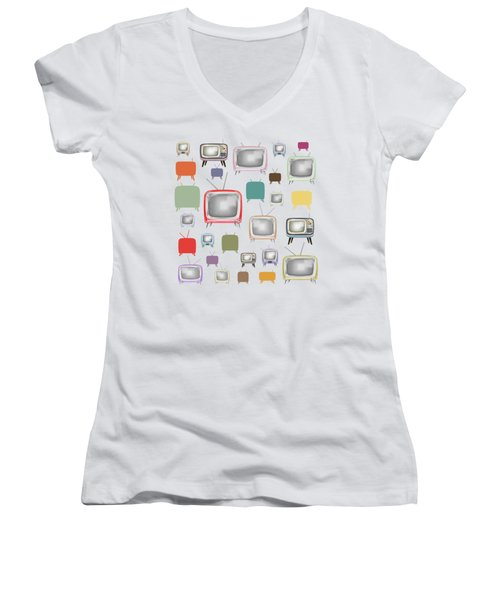 Retro T.v. Women's V-Neck T-Shirt (Junior Cut) by Setsiri Silapasuwanchai