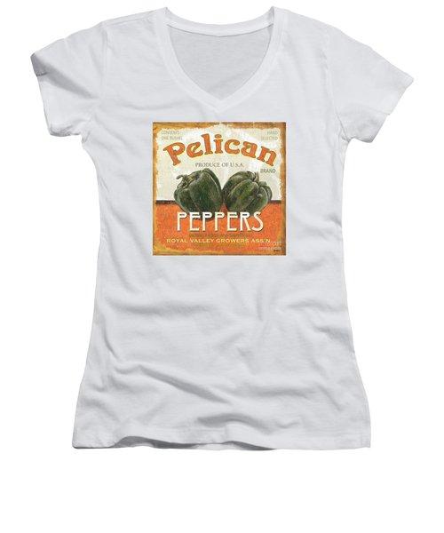 Retro Veggie Labels 3 Women's V-Neck T-Shirt (Junior Cut) by Debbie DeWitt
