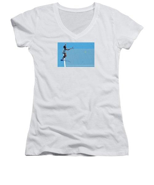 Return - Serena Williams Women's V-Neck T-Shirt (Junior Cut) by Andrei SKY