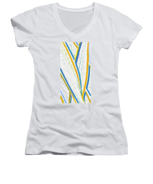 Women's V-Neck T-Shirt (Junior Cut) featuring the digital art Rhapsody In Leaves No 3 by Ben and Raisa Gertsberg