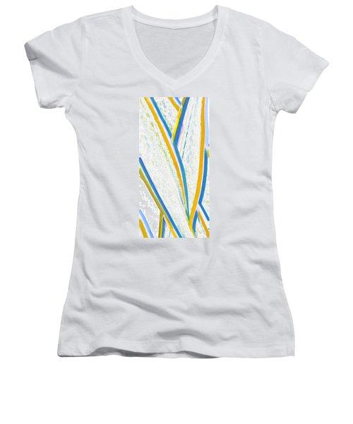 Rhapsody In Leaves No 3 Women's V-Neck T-Shirt (Junior Cut) by Ben and Raisa Gertsberg
