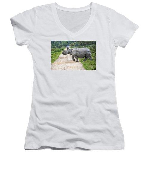 Rhino Crossing Women's V-Neck T-Shirt