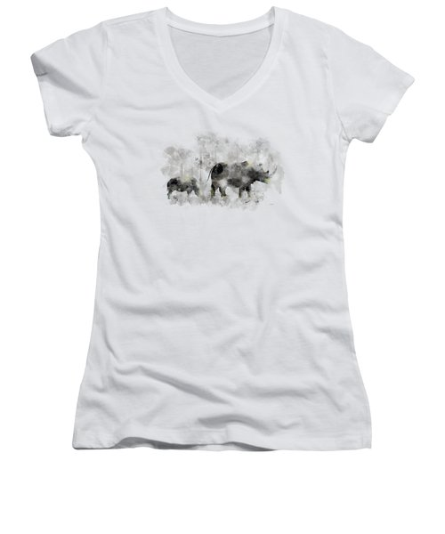 Rhinoceros And Baby Women's V-Neck (Athletic Fit)