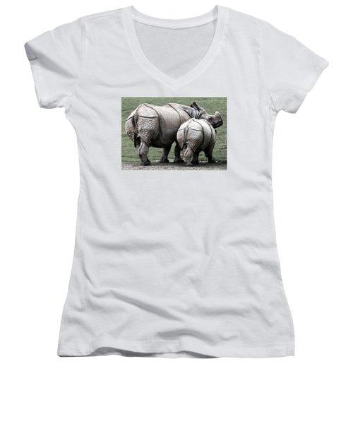 Rhinoceros Mother And Calf In Wild Women's V-Neck T-Shirt (Junior Cut) by Daniel Hagerman