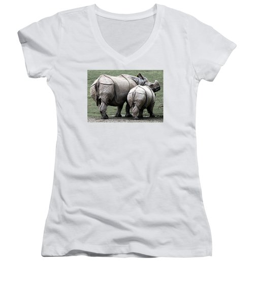 Rhinoceros Mother And Calf In Wild Women's V-Neck (Athletic Fit)