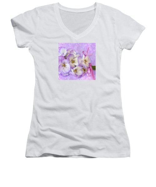 Ribboned Pansies  Women's V-Neck T-Shirt (Junior Cut) by Sandra Foster