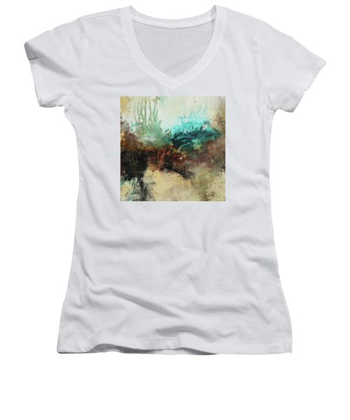 Rich Earth Tones Abstract Not For The Faint Of Heart Women's V-Neck T-Shirt (Junior Cut) by Patricia Lintner