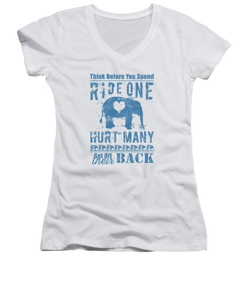 Ride One Elephant Hurt Many Women's V-Neck (Athletic Fit)