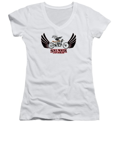 Ride With Passion Cafe Racer Women's V-Neck (Athletic Fit)
