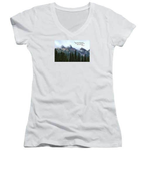 Women's V-Neck T-Shirt (Junior Cut) featuring the photograph Rides On The Clouds by Lynn Hopwood