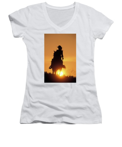 Riding Cowgirl Sunset Women's V-Neck (Athletic Fit)