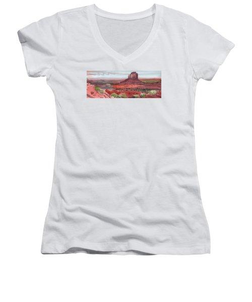 Right Mitten Panorama Women's V-Neck T-Shirt (Junior Cut) by Donald Maier
