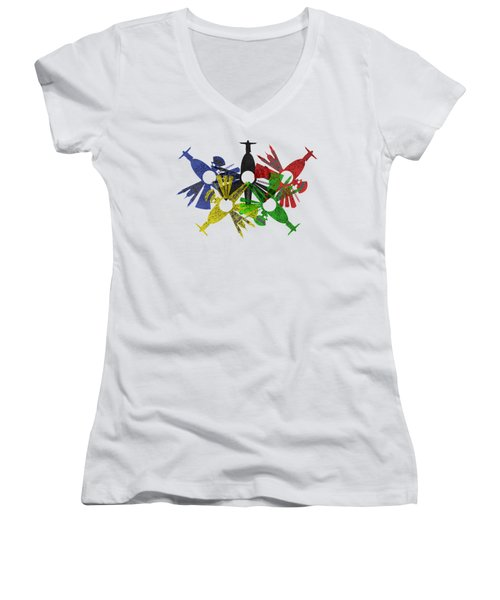Rio De Janeiro Skyline In Various Colors Women's V-Neck T-Shirt (Junior Cut) by Michal Boubin