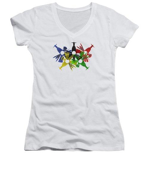 Rio De Janeiro Skyline In Various Colors Women's V-Neck T-Shirt