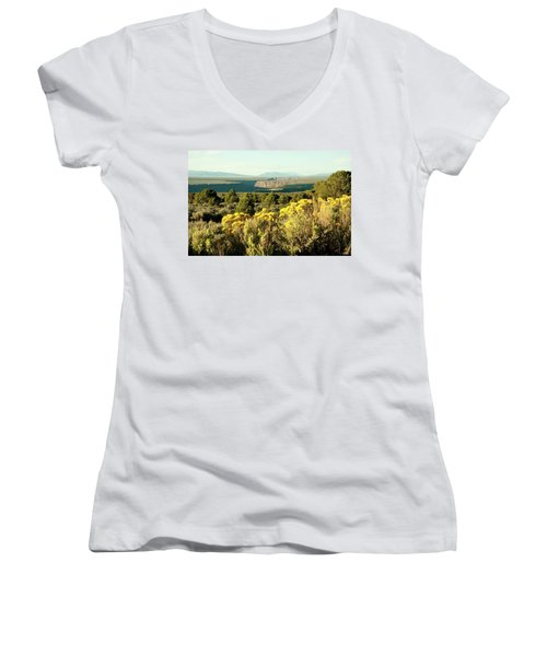Rio Grande Gorge Women's V-Neck T-Shirt (Junior Cut) by Jim Arnold