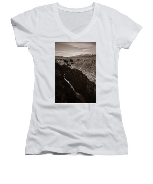 Women's V-Neck T-Shirt (Junior Cut) featuring the photograph Rio Grande River Taos by Marilyn Hunt