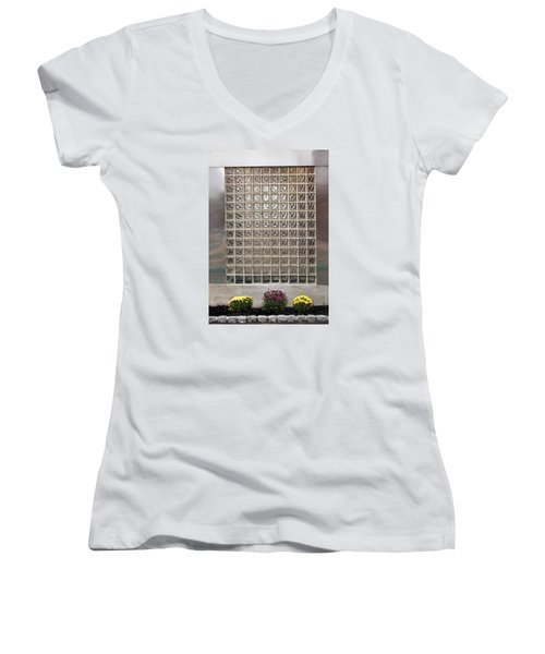 Rippled Glsss Window Segments Above The Garden Women's V-Neck T-Shirt (Junior Cut) by Gary Slawsky