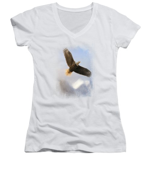 Rise Above Women's V-Neck T-Shirt (Junior Cut) by Jai Johnson