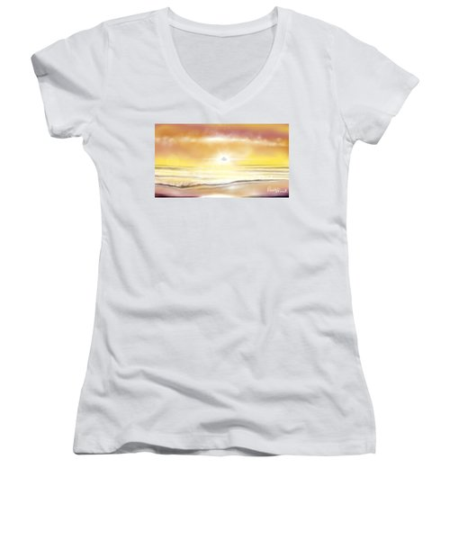 Women's V-Neck T-Shirt (Junior Cut) featuring the painting Rise And Shine by Dawn Harrell