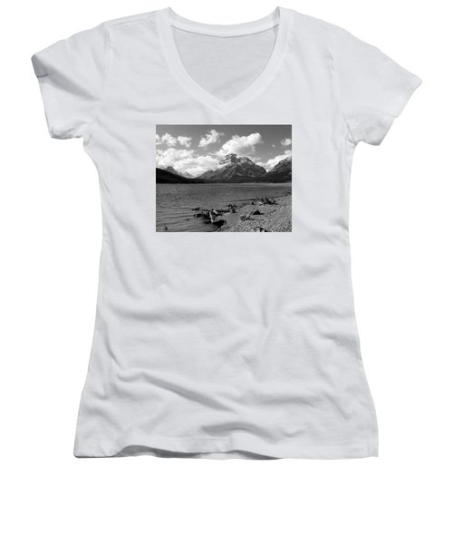 Rising Wolf, Two Med Shoreline Women's V-Neck T-Shirt (Junior Cut)