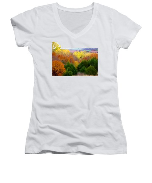 Women's V-Neck featuring the digital art River Bottom In Autumn by Shelli Fitzpatrick
