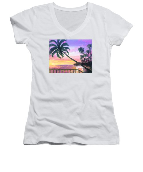 River Road Sunrise Women's V-Neck T-Shirt
