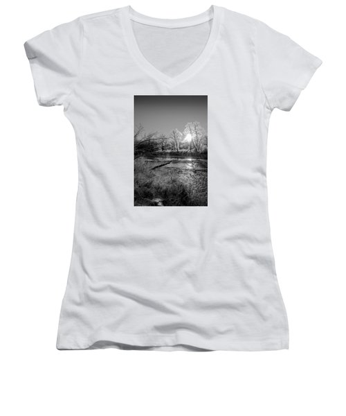 Women's V-Neck T-Shirt (Junior Cut) featuring the photograph Rivers Edge by Annette Berglund