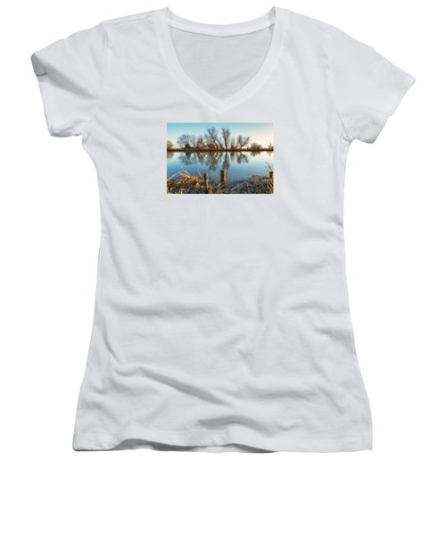 Women's V-Neck featuring the photograph Riverside Trees by James Billings