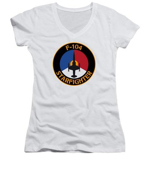 Rnlaf F-104 Starfighter Women's V-Neck T-Shirt (Junior Cut) by Nop Briex