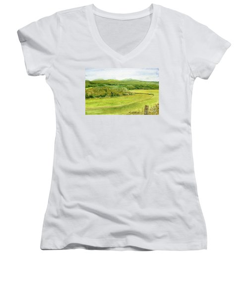 Road Through Vermont Field Women's V-Neck