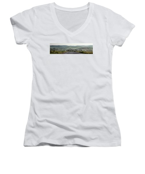 Road To The Forest Women's V-Neck T-Shirt (Junior Cut) by Yoel Koskas