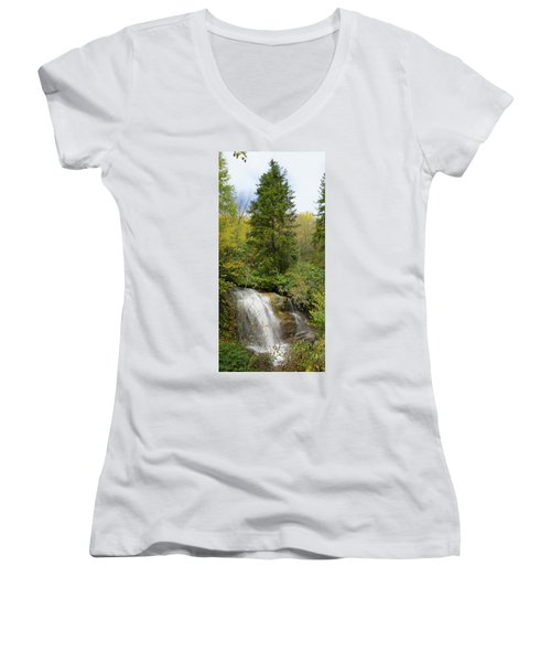 Women's V-Neck T-Shirt (Junior Cut) featuring the photograph Roadside Waterfall In North Carolina by Mike McGlothlen
