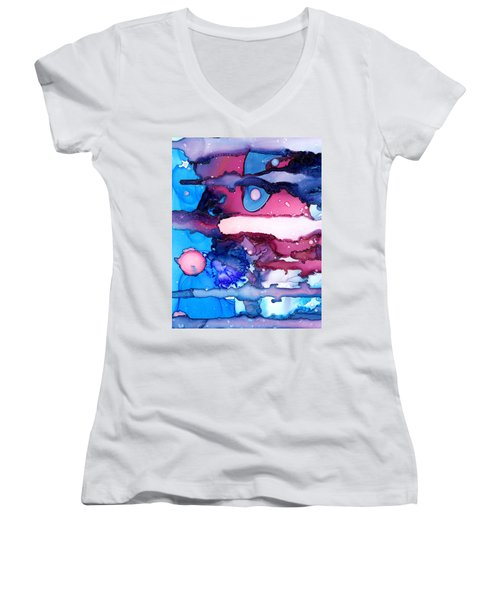 Roaming Free In The Valley Of The Elephants Women's V-Neck T-Shirt (Junior Cut) by Sir Josef - Social Critic -  Maha Art