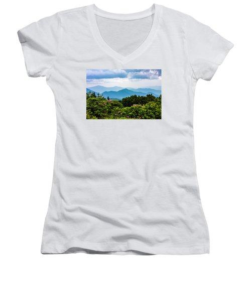 Roan Mountain Rhodos Women's V-Neck T-Shirt (Junior Cut) by Dale R Carlson