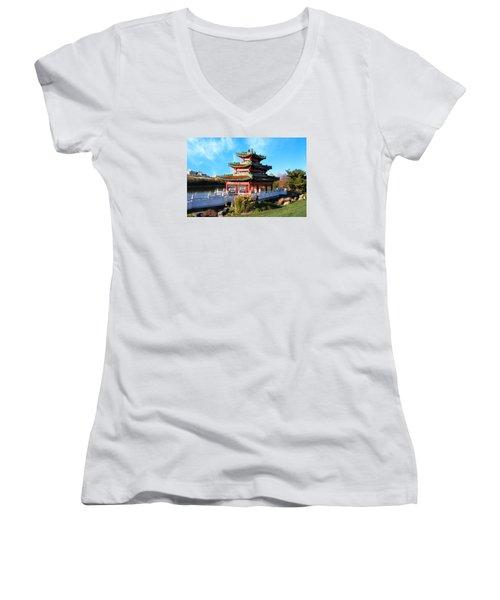 Robert D. Ray Asian Garden Women's V-Neck T-Shirt (Junior Cut) by Kathy M Krause